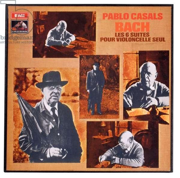 Pablo Casals recording the 6 cello suite by Jean Sebastien Bach (Johann Sebastian Bach, 1685-1750)