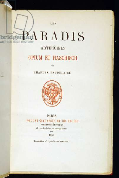 "Cover Page of """" Artificial Paradises opium and Haschisch"""" by Charles Baudelaire.1864. BHVP."
