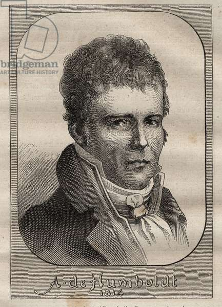 """Portrait of Alexander von Humboldt (1769-1859) - illustration taken from """"The Great Mariners of the 18th century"""""""", 1879 - 1 of the 3 volumes of the """"Histoire generale des grands voyages et des grands voyageurs"""" by Jules Verne"""