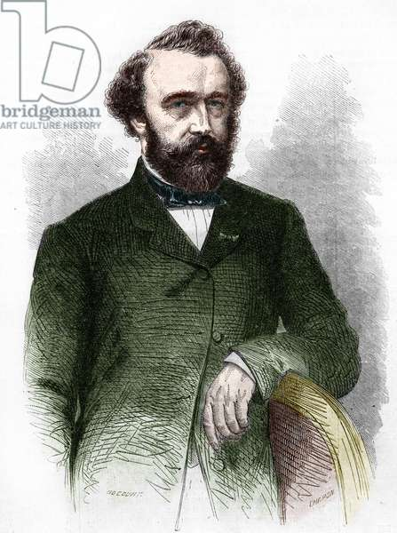 Portrait of Adolphe (Adolph) Sax, inventor of the Saxophone (1814-1894).