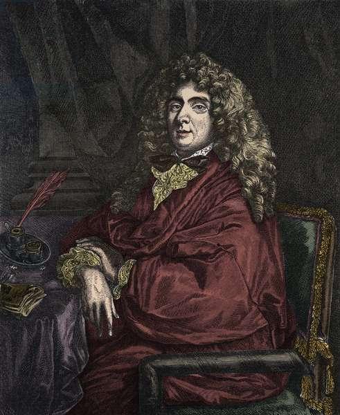 Portrait of Jean-Baptiste Poquelin dit Moliere (Jean Baptiste Poquelin, 1622-1673) engraving by Jacques Firmin Beauvarlet after Sebastien Bourdon