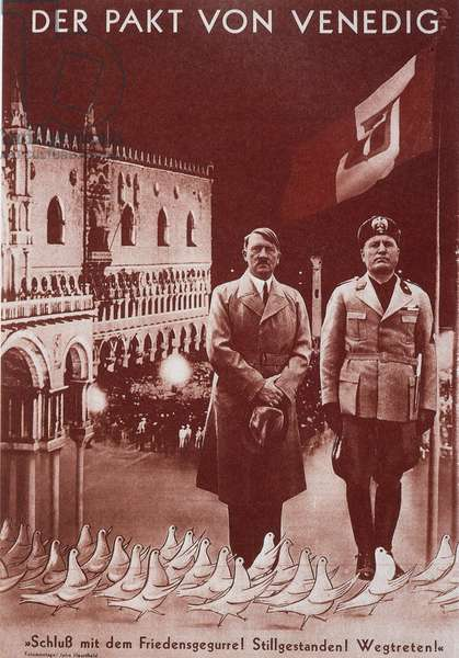 """Reproduction of the photomontage of Helmut Herzfeld, known as John Heartfield (1891-1968), published in """""""" AIZ"""""""" (Arbeiter Illustrierte Zeitung, German workers' newspaper denouncing Nazism): """"The Venice Pact, the first meeting between Hitler and Mussolini"""" in June 1934. Private Collection"""