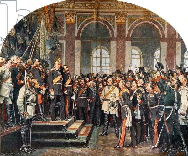 The Proclamation of the German Empire in the Galerie des Glaces at Versailles, 18 January 1871 engraving after Anton von Werner - Proclamation of the German Empire 18/01/1871 in the Galerie des Glaces in Versailles following the French defeat in the War of 1870 against Prussia. William I (1797-1888) is proclaimed emperor in the presence of Otto von Bismarck - engraving after the painting by Anton von Werner