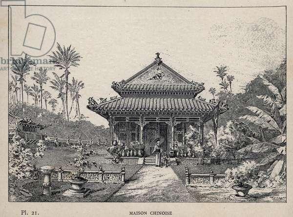 """Maison chinoise - (Chinese house) - engraving of 1889 in """"Histoire de habitation humaine à l'Exposition Universelle de 1889, by Mr Charles GARNIER - Librairie centrale des beaux-arts Paris 1889"""