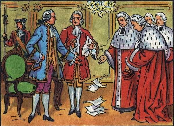 "Louis XV (1710-1774), King of France, breaks down the rulings of the parliament. Anonymous illustration in """" Collection des souverains et chefs d'état de la France"""". 20th century. Private collection."