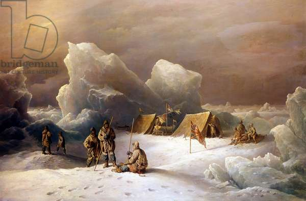 Expedition of Albert Hastings Markham (1841-1918) and Alfred Arthur Parr in May 1876 in the Lincoln Sea - Painting by R.B.Beechey in 1877 - Royal Geographical Society