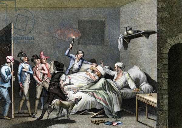 Arrest under the Terror, 1794 - French Revolution: Terror (instituted on 10 June 1794 by the Convention) - Loizerolles sacrificed himself for his son - Arrest under the Terror of Jean Simon Ave de Loizerolles (1733-1794) who was sublocated to his son, 26/07/1794 - French Revolution, Reign of Terror. Arrest of Jean Simon de Loiselles in place of his son, July, 26, 1794 -