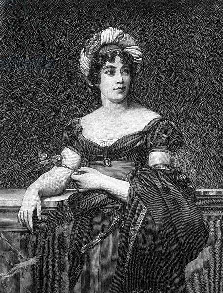 Portrait of Germaine Necker, Baroness of Staël-Holstein, known as Madame de Staël (1766 - 1817), French writer.
