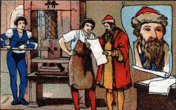 Germany: Johannes Gensfleisch Gutenberg's press (1400-1468) is famous for improving typography by using mobile letters for printing. Chromolithography of 1936.