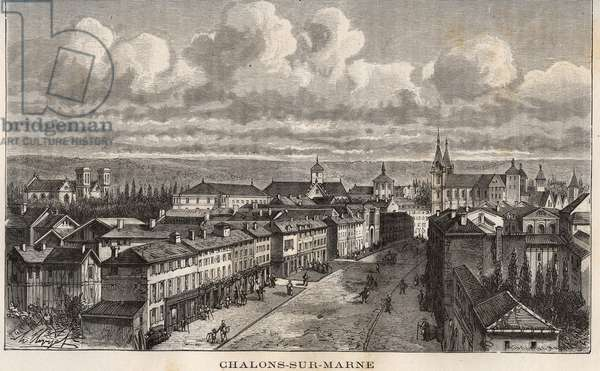 """Champagne-Ardenne (Champagne Ardenne), Marne (51), Chalons sur Marne (Chalons-sur-Marne) (current Chalons en Champagne, Chalons-en-Champagne) - engraving in """"France illustree: geography, history, statistical administration"""" by V.A. Malt-Brown. 1884"""