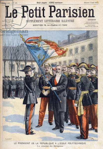 """President of the French Republic Emile Loubet (1838-1929) at the Polytechnic School when the flag was handed over, in """""""" Le Petit Parisien"""""""" on 1/04/1901(engraving))"""