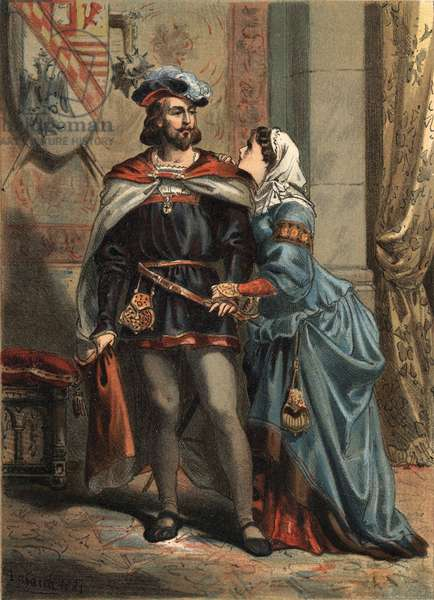 """Jeanne of Spain known as La Folle (1479-1555), Queen of Castile and her spousal Philippe Le Beau (1478-1506) king of Spain and archduke of Austria in """"El Culto de la Hermosura"""""""" by Juan Justo Huguet, Molinas Hermanos editores, 1880 (volume 1) & 1881 (volume 2)."""