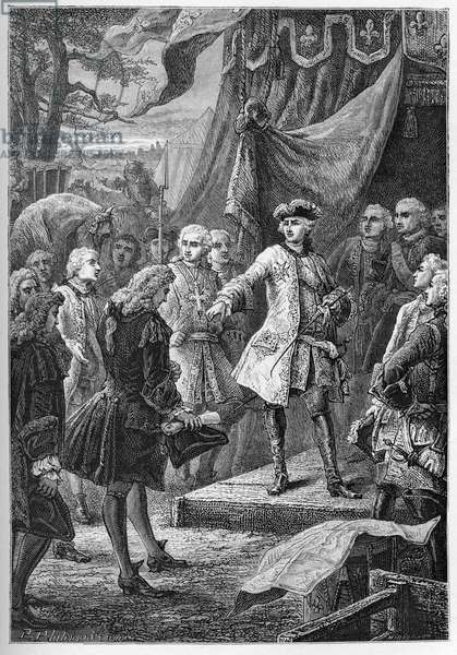 "The War of the Austrian Succession (1740-1748) - Ambassadors of the United Provinces present themselves before Louis XV in 1747 - The War of the Austrian Succession (1740-48) - Louis XV, King of France and the Ambassador of Netherlands - engraving from """" L'histoire de France racontee à mes grandenfants"""" - by Francois Guizot - 1872-1876"