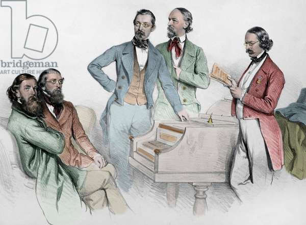 The composer Franz von Suppe surrounds Carl Binder, Anton Storch, Heinrich Proch and Anton Emil Titl - lithography by Josef Kriehuber (1800-1876), 1852