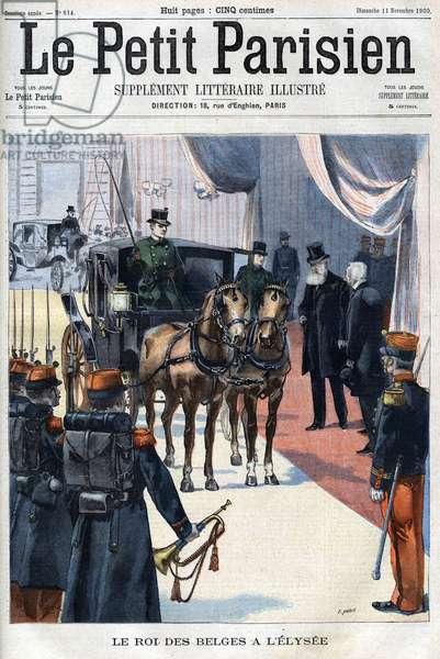 "Le roi des belges Leopold II received in L'Elysee in 1900 - in ""Le Petit Parisien"", 1900 (engraving)"