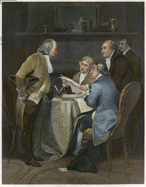 Drafting the Declaration of Independence in 1776 -: Independence of the United States of America: Declaration of Independence. Committee of Reaction of the Declaration of Independence (1776) form of Thomas Jefferson (1743-1826), Benjamin Franklin (1706-1790), Robert Sherman (1721-1793) Philip Livingston (1746-1813), John Adams (1735-1826)