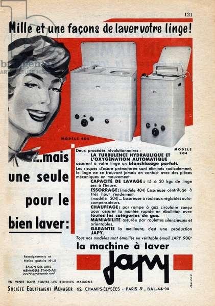 """Advertising of the washing machine brand """""""" Japy"""""""" around 1960."""
