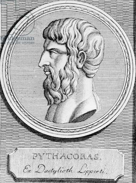 Portrait of Pythagoras (around 570 - around 480 BC), Greek mathematician and philosopher