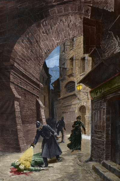 Discovery of a victim of Jack the Ripper, Whitechapel, London (coloured engraving)