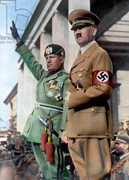 Benito Mussolini and Adolf Hitler in Munich Germany 25/09/1937 - Munich, Germany 25/09/1937 - Portrait of the Duke Benito Mussolini, Head of State of Fascist Italy, during a meeting with the Chancellor of Nazi Germany Adolf Hitler - The Duce makes the fascist greeting
