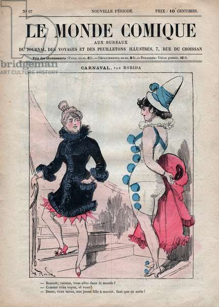 """COMIC WORLD N. 67 AROUND 1880 COLOR ENGRAVING """""""" CARNIVAL BY ROBIDA"""""""""""