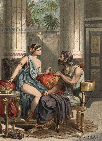 """Sophonisbe wife of King Syphax and Queen of Numibie (235-203 BC). in """""""" El Culto de la Hermosura"""""""" by Juan Justo Huguet, Molinas Hermanos editores, 1880 (volume 1) & 1881 (volume 2)."""