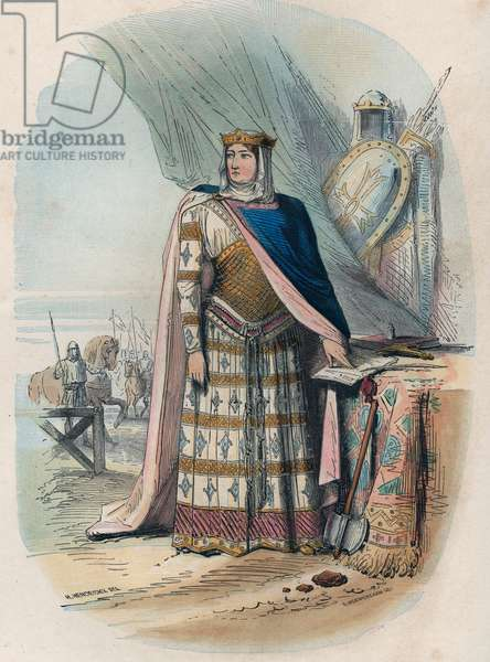 """Richilde of the Ardennes (or Richilde of Provence) (ca. 845? 2 June 910, Kingdom of Lower Burgundy) was the second consort of Charles the Bald, King and Emperor of the Franks - Portrait of Richilde d'Ardennes or Richilde de Provence (ca. 845-910) second wife of Charles II the Bald. Engraving from 1868 in """"Histoire de Belgique from primitive times to the end of the regne of Leopold I"""""""" by Theodore Juste (1818-1888). Private collection."""
