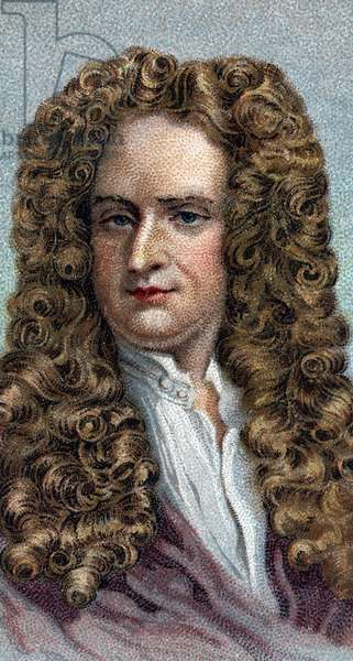 """Portrait of Sir Isaac Newton 1642-1727, English physicist and mathematician - From series """""""" Leaders of Men"""" - Chromolithography - English School, 20th century -"""