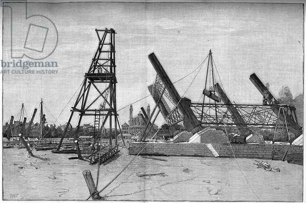 State of the construction site of the Eiffel Tower in 1887.