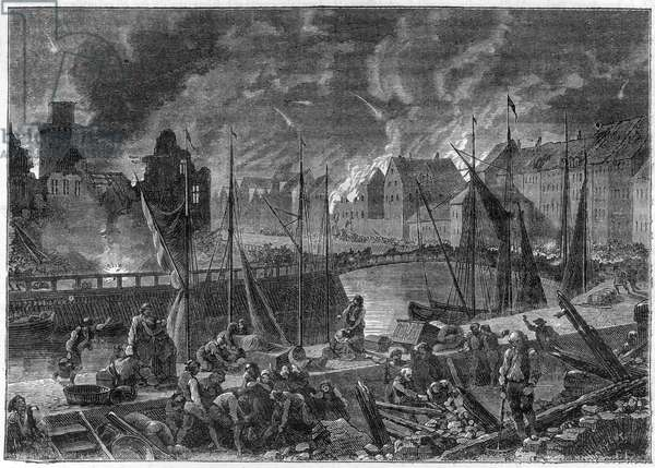 """The Second Battle of Copenhagen (or the Bombardment of Copenhagen) (16 August-5 September 1807) British bombardment of Copenhagen in order to sixteen the Danish-Norwegian fleet, during the Napoleonic Wars - English Wars - The Battle of Copenhagen of 1807 or Second Battle of Copenhagen - in """""""" History of the Empire Following the History of the Consulate"""" by Adolphe Thiers - 1879 - private collection"""