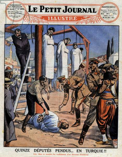 """Fifteen deputies hanged... in Turkey! : In July 1926, the President of the Turkish Republic Mustafa Kemal (1881-1938) made an official visit to Smyrna where the police had just arrested three suspects with several bombs in their house in order to assassinate Ataturk under the orders of several parliamentarians. Once denounce, the deputes will be judges and hanged (among them Colonel Arif, confidant of Mustafa Kemal). Engraving in """""""" Le petit Journal Illustré"""""""" on 01/08/1926. Private collection."""