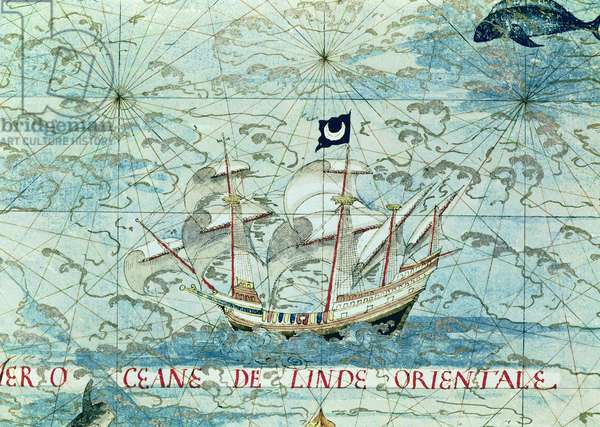 Fol.36v A Caravel, from 'Cosmographie Universelle', 1555 (w/c on paper)