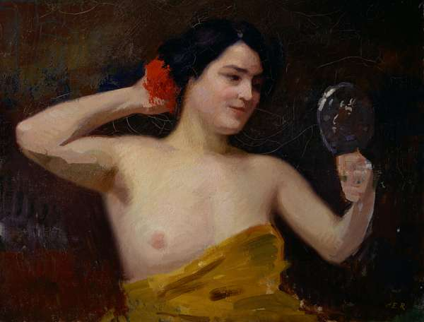 Female Nude (woman with her mirror) (oil on canvas)