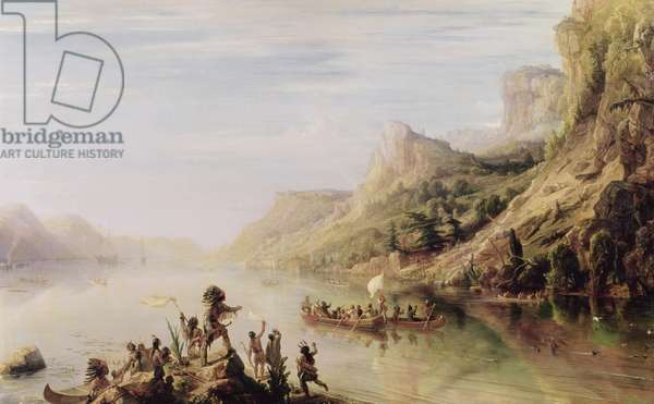 Jacques Cartier (1491-1557) Discovering the St. Lawrence River in 1535, 1847 (oil on canvas)