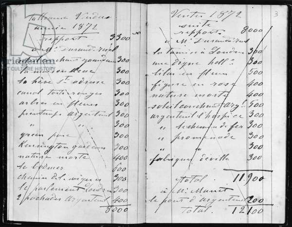Pages from Monet's account books detailing sales to Durand-Ruel and Manet, 1872 (pen & ink on paper)