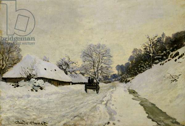 The Cart, or Road under Snow at Honfleur, 1865 (oil on canvas)