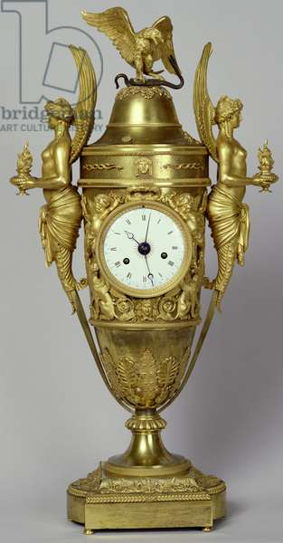 Clock vase with an eagle, c.1800 (gilded bronze)