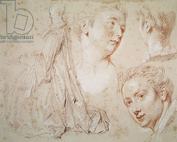 Three Heads and a Seated Woman, c.1716 (crayon with black & red chalk on paper)
