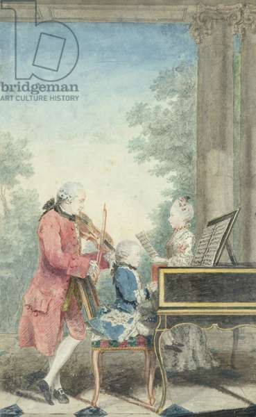 Leopold Mozart (1719-87) and his Children Wolfgang Amadeus (1756-91) and Maria Anna (1751-1829) 1764 (w/c on paper)