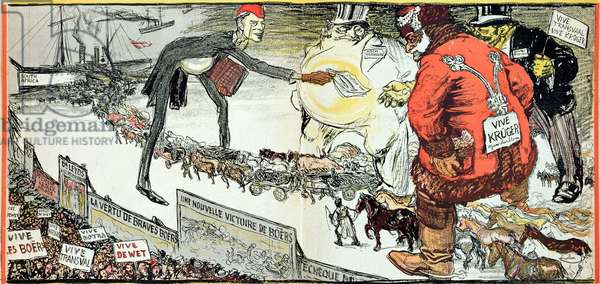 The International Band of Capitalists, from 'L'Assiette au beurre', 11th January 1902 (colour engraving)