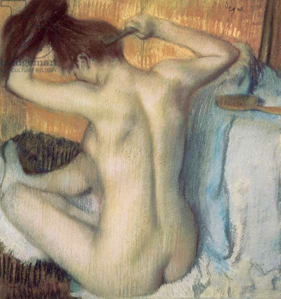 Woman combing her hair, c.1885 (pastel)