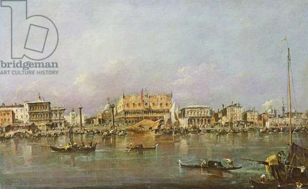 Doge's Palace and view of St. Mark's Basin, Venice (oil on canvas)