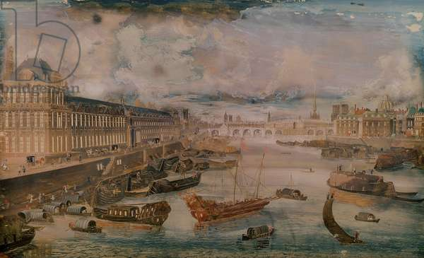 View of the Seine, the Grande Galerie of the Louvre and the College des Quatre Nations, c.1680 (oil on canvas)