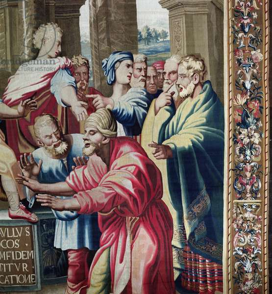Tapestry depicting the Acts of the Apostles, the Blinding of Elymas (detail of Elymas the Sorcerer struck blind), woven at the Beauvais Workshop under the direction of Philippe Behagle (1641-1705), 1695-98 (wool tapestry)