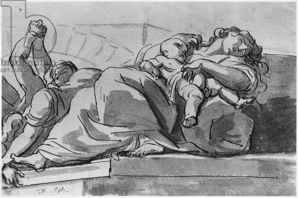 Plague episode (pen & Indian ink wash on paper)