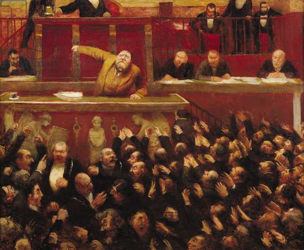 Jean Jaures (1859-1914) Speaking at the Tribune of the Chamber of Deputies, 1903 (oil on canvas)