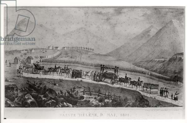 The Funeral Cortege of Napoleon Bonaparte (1769-1821) at Saint Helena, 9th May 1821 (engraving) (b/w photo)