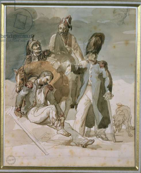 Episode from Napoleon's Retreat from Russia in 1812 (w/c on paper)