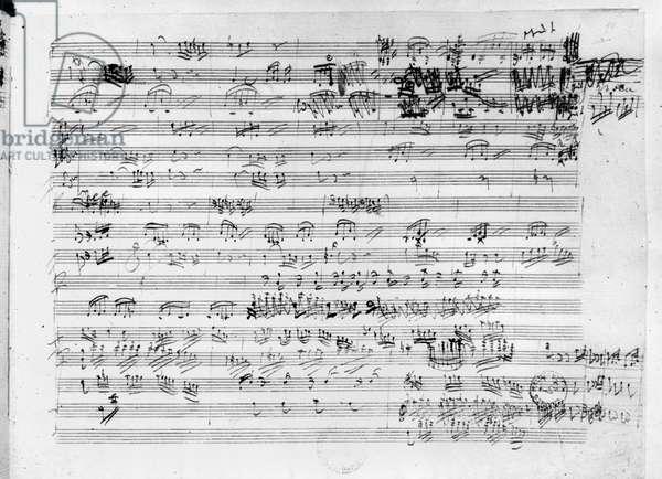Autograph score sheet for the Trio mi bemol opus 3 (pen & ink on paper) (b/w photo)