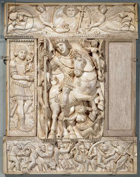 The Emperor Triumphant, known as the 'Barberini Ivory', 500-550 AD (ivory)